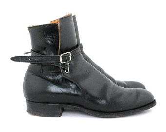 Vintage Black Leather Riding Boots / 1940s Preppy Black Equestrian Boots / Unique Motorcycle Victorian Steampunk Boots / Womens Size 6 Shoes