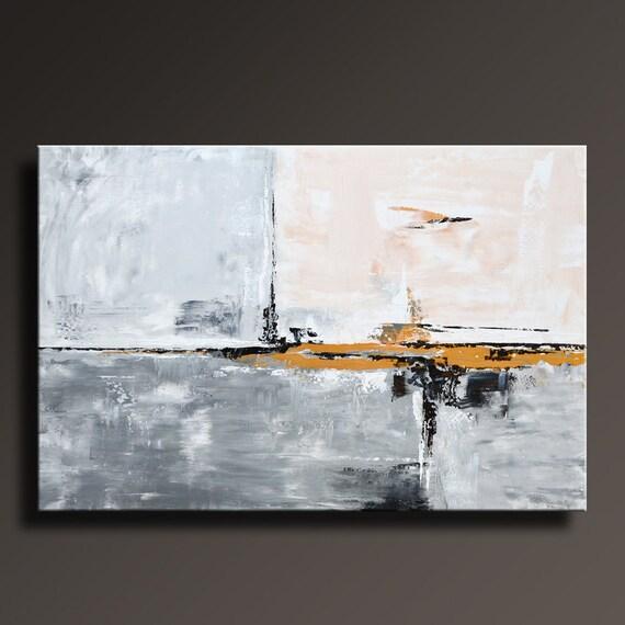 48 large original or gris noir blanc peinture sur toile. Black Bedroom Furniture Sets. Home Design Ideas