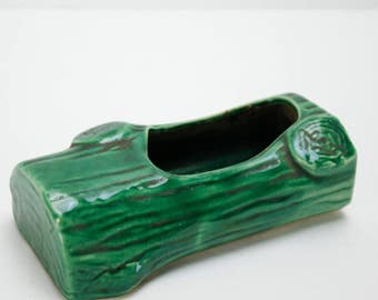 Vintage Planter Ceramic Log Green Succulent Plant Kitsch Retro Small