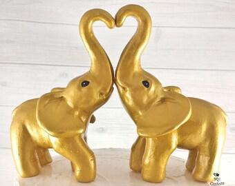 Elephant Love Wedding Cake Topper - Golden Standing forming a heart