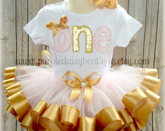Custom First Birthday Tutu Outfit with ONE on Shirt in Pink and Gold Letters with Ribbon Trim Tutu to Match