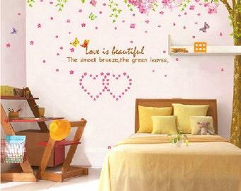 Super Große Romantische Kirschbäume Wand Abziehbilder Schmetterling  Aufkleber Kirsche Wall Sticker Abnehmbare Dekorative Aufkleber Schlafzimmer