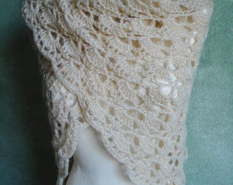 Cream Candle Light Crocheted Lace Shawl Shoulder Wrap Acrylic/Mohair Blend Yarn Handmade by Lynne