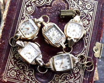 Watch of Vintage Watches, steampunk, antique, assemblage, bracelet, jewelry, timepiece, repurposed recycled up cycled wind up ladies
