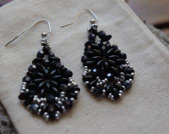 Boho Earrings, Chandelier Earrings, Black Beaded Earrings, Gift for Her