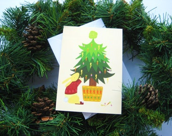 Woodland Christmas card - Rabbit