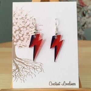 Bowie Inspired Lightning Bolt Earrings - Hand Drawn Plastic Earrings