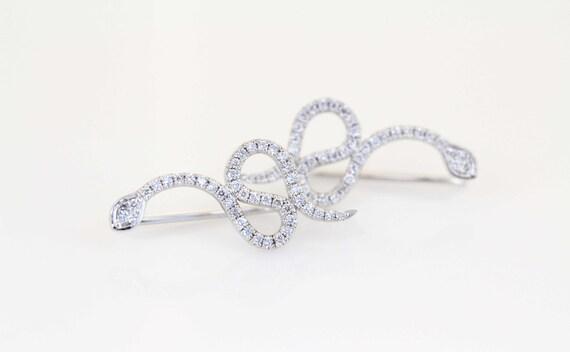 Diamond Serpent Ear Climbers, Diamond Earrings, 14K White Gold Earrings, Gold Ear Climbers, Edgy Earrings, Rocker Jewelry