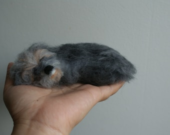 needle felted sleeping dog irish wolfhound  brooch ,pin,doll house decoration.
