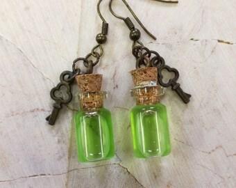 Bottle Earrings with Pendant