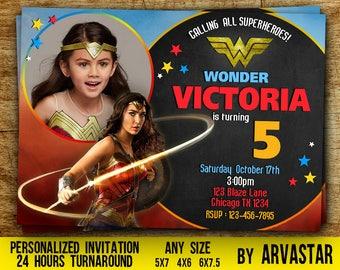 Wonder Woman Invitation, Wonder Woman Party Invitation, Wonder Woman Birthday, Superhero Birthday Party, Girl Birthday,  Photo, Digital file