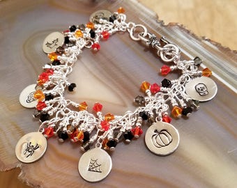 Happy Halloween Swarovski crystal black and orange adjustable cha cha bracelet with hand stamped charms