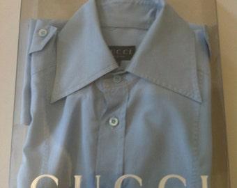 Gucci light sky blue shirt