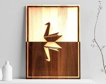 Papier Schwan aus Holz graviert Poster