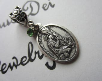 St Mary Magdalene Medal & Lime Green Glass Charm Pendant, Patron Saint for Hairdressers - Pharmacists - Women
