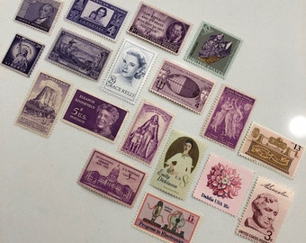 Set of 20 Vintage Stamps - Purple