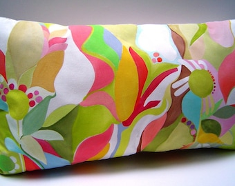 Spring Fling Abstract Pillow - Hand Painted Bright Pastel Shapes Whimsical Colors Floral Garden 14 x 24 Canvas Backed Spring Summer Decor