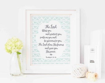 Bible Verse Print, The Lord Bless You, 8x10 Print, Nursery Decor, Christian Gift, Wall Art, Motivational Quote Print