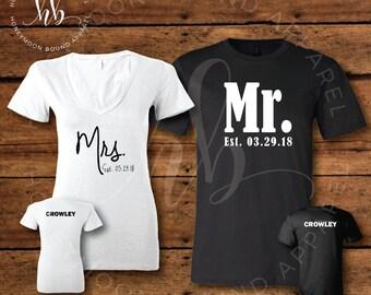 Honeymoon Shirt Set - Mr. and Mrs. Established Shirt Set - Personalized Shirts - Bridal Shirt Set - Honeymoon Shirt