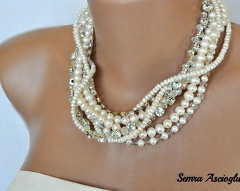 Multi Strand Pearl Necklace, Chunky Layered Ivory Freshwater Pearl Necklace with Rhinestones brides bridesmaids
