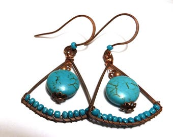 Earrings in copper and stone of TURQUOISE