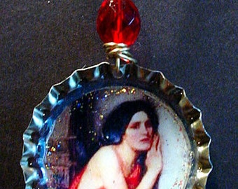 Altered Art Bottle Cap Necklace - Thisbe - Art by ruby