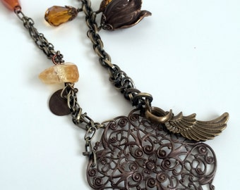 Vintage Style Moontime Amber Necklace