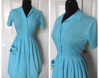 Vintage 1950's Sky Blue Shirtwaist Fit and Flare Day Dress - size Medium 26 - 27 inch waist