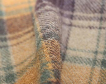 Wool, Plaid of brown, forest green, mustard and gold