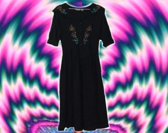 70s/80s Midi Floral Witchy Embroidered Black Dress