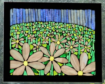 Field of Blooms - Stained-Glass Mosaic Wall Art