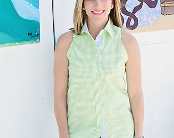 The Preppy Elephant Sleeveless Green Gingham Cotton Shirt