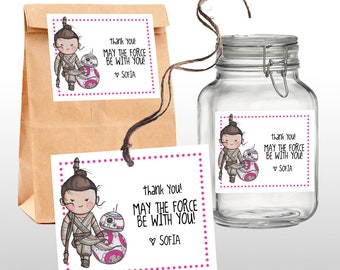 EDITABLE PRINTABLE Rey & BB-8 Star Wars Birthday Party Thank You Tags in Pink, Favor Tags, The Force Awakens, printable .pdf file
