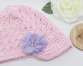 Crochet Newsboy Style Hat, Pink, Baby Hat, Toddler Hat, Toddler Beanie, Winter Hat,