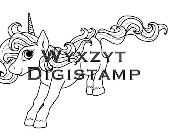 Cute jumping unicorn digistamp instant download printable art