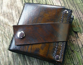 Men's Brown Leather Money Clip Bifold Snap Wallet, Hand Stitched, Wood Grain, MADE to ORDER