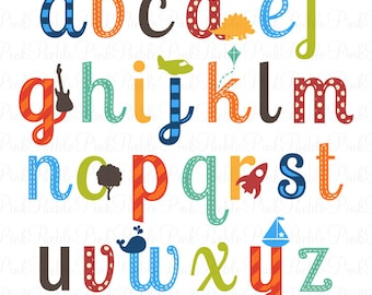 Boy Alphabet Letters, Scrapbooking Alphabet Clipart Clip Art, Lowercase - Commercial and Personal Use