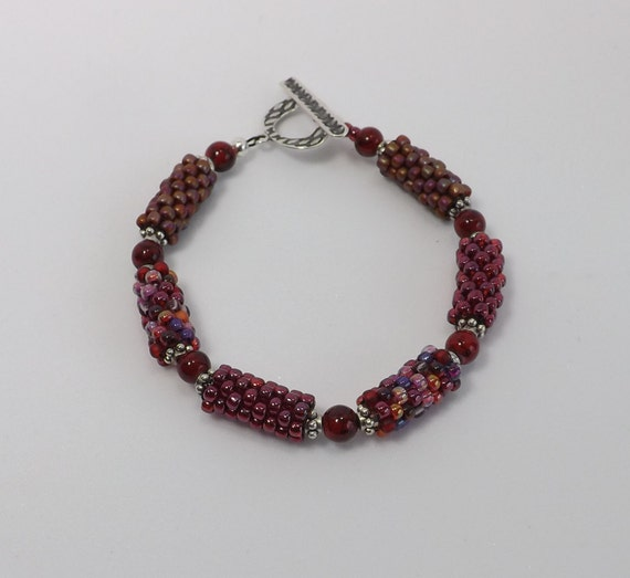 Peyote Stitch Beaded Bracelet in shades of Red