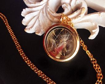 Glass Medallion genuine Dandelions seeds gold