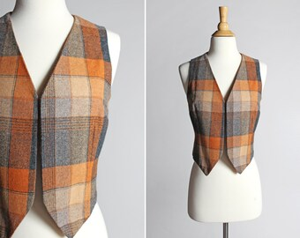 Vintage 1970s Women's Plaid Vest-  70's Brown Orange Grey Gray Handmade Open Front Western Country Ladies Vest Clothing - Size Medium