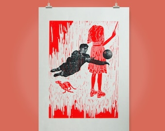 Woodcut // Woodblock print with fluorescent red //  11,8'' x 15,7 ''