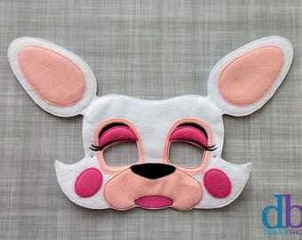 Fox Felt Embroidered Mask - Mangle the White Fox Mask - Kid & Adult - Creative Play - Make Believe Mask