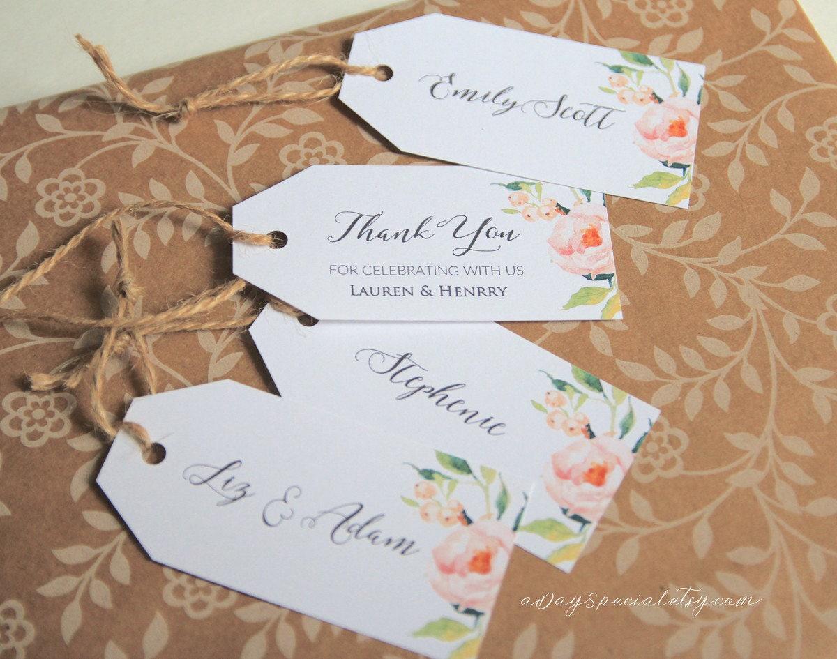 No Thank You For Wedding Gift: Peony Gift Tag Template Printable All Purpose Floral Wedding