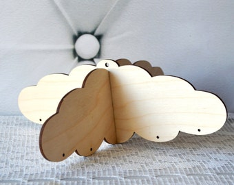 Wooden Mobile Hanger, sky clouds, Wooden hanger, silver blue white, Wood mobile frame, mobile Cross, wooden baby mobile