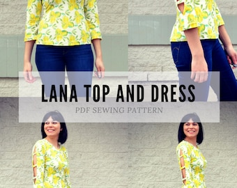 The Lana Top and Dress PDF sewing pattern and sewing tutorial.  Printable sewing pattern for women sizes 4 to 22, including plus size patter