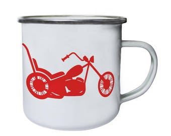 Red Chopper Motorcycle Retro,Tin, Enamel 10oz Mug j406e
