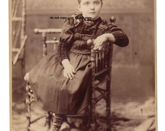 girl with high button shoes, cabinet card photo, antique photograph, vintage photography, Rockford IL