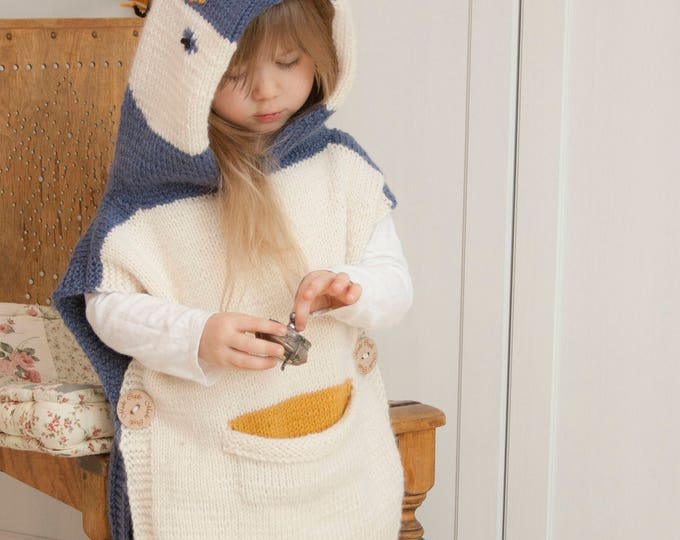 Knitted penguin poncho Lolo (3-4-y-o size)