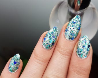 Great Lake - custom handcrafted Harry Potter inspired glitter topper holographic mini hearts nail polish