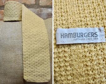 Vintage Necktie • 60s Wool Tie • Goldenrod Yellow Necktie • Square End Tie • Knit Wool Necktie • Hamburgers Tie Trunk Tie 1960s Formal Wear